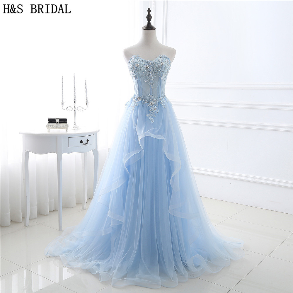 H&S BRIDAL Sky Blue Sweetheart prom dress Lace Applique Beaded formal evening gowns Sheer Front Lace Tulle long evening dresses