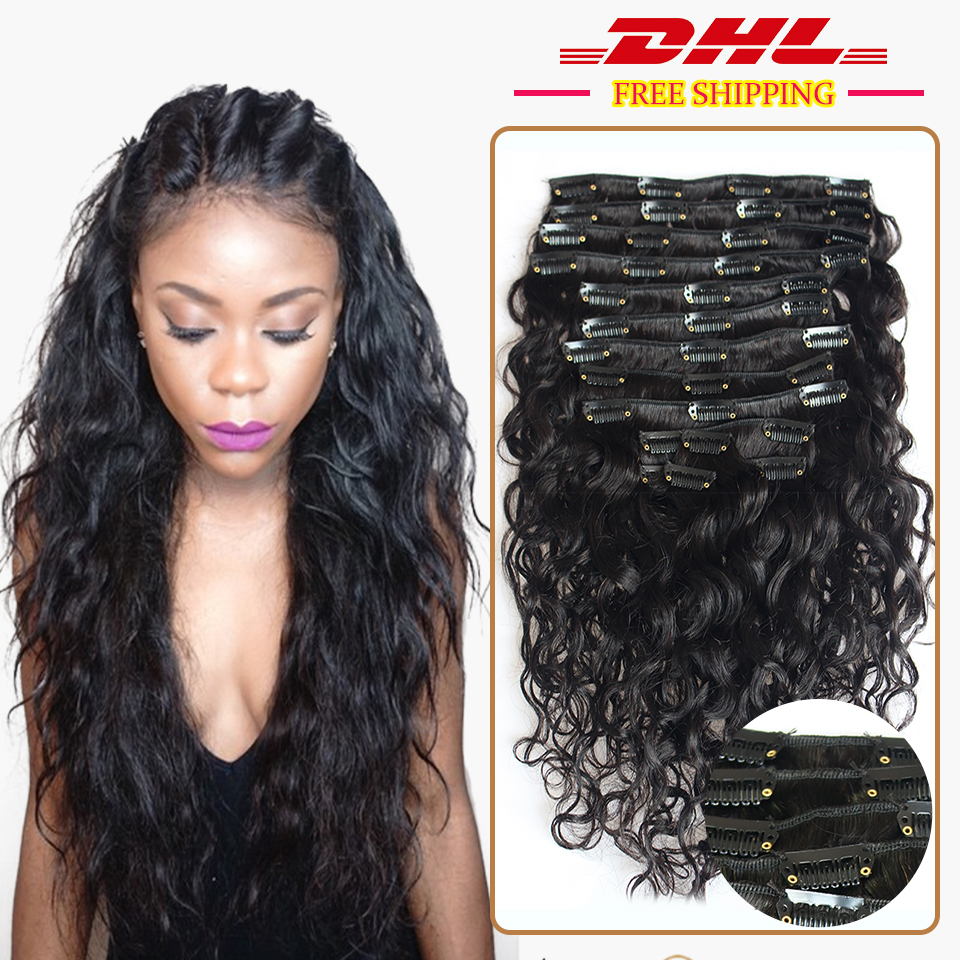 Dhl Free Shipping 7a Water Wave Clip In Human Hair Extensions Wave