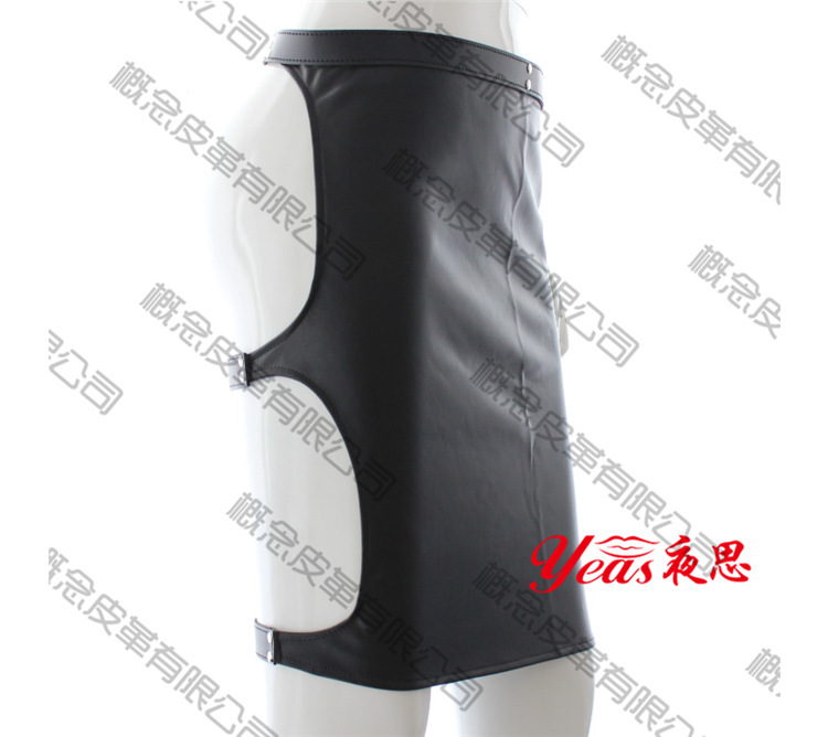 Black Patent Leather Sexy Dominatrix Lutun skirt Fetish Harness Adult Sex Club Stage Performance Dress