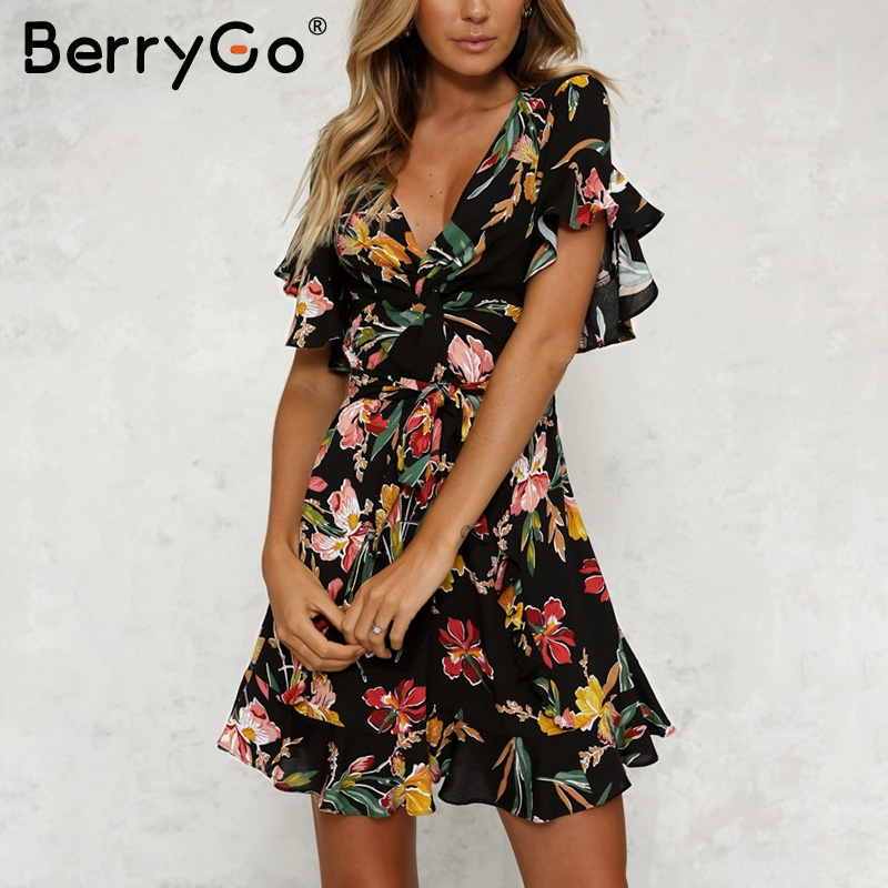 BerryGo Boho floral print ruffle summer dress Women deep v neck sexy dress female 2018 Beach sash casual short dress vestidos