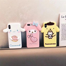 Cute cartoon 3D pink bunny My Melody mobile phone case iPhone 6 6s 7 8 Plus X XR XS Max soft silicone Fundas Coque Capa