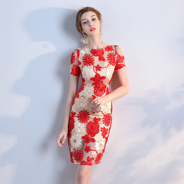 331f5a3065a Новый красный прямой короткое лето кружева леди женщин девушки принцесса  невесты Вечерние банкетные праздничное платье
