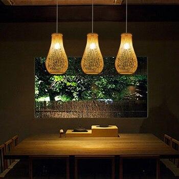 Creative bamboo pendant lights restaurant bar lamp personality tea room lamp garden wind hand-woven Japanese lamp ZA98416