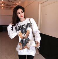 Casual Coat 2019 Winter Fleece White Pullover Bear Print StreetwearThick Loose Women Hoodies Sweatshirt Female S L