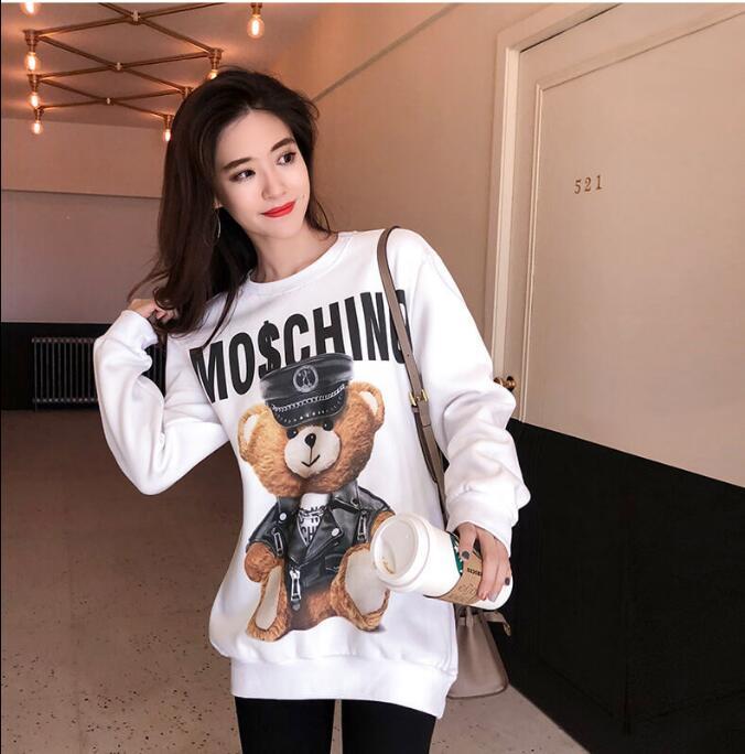 Manteau décontracté 2019 hiver polaire blanc pull ours imprimé streetwear épais lâche sweat à capuche pour femme sweat femme S-L
