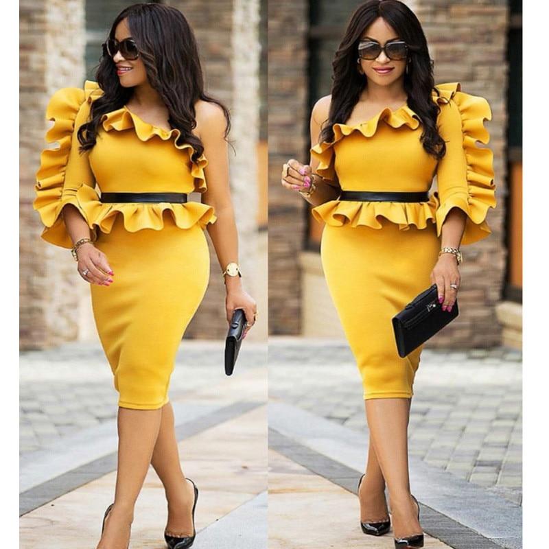 One Shoulder Long Sleeve Peplum Dress Women Autumn 2018 New Fashion Sexy  Ruffle Bodycon Midi Dress 5883d7187db2