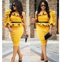 어깨 긴 소매 Peplum 드레스 여성