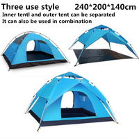 240*210*140cm Camping Automatic throw blue Tent Waterproof Climbing Travel Hiking Urltra Light Family Baby Auto Double Tents