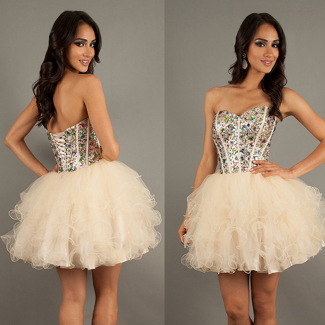 2015 Summer Style Ball Gown Short Cute 8th Grade Prom Dresses Corset