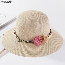 New Arrival Wide Brim Sun Hat Woman Summer Straw Cap Students Flower Slim Beach Girls Outside Travel