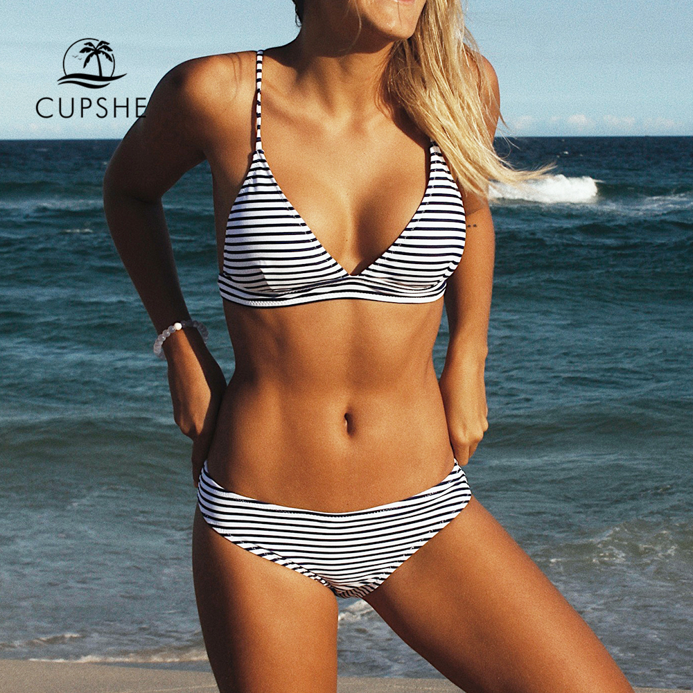 CUPSHE Hit Summer Stripe Bikini Set Women Sexy Push Up Triangle Bandage Two Pieces Swimwear 2018 Beach Bathing Suit Swimsuits blue stripe pattern tie up sleeveless triangle bikini