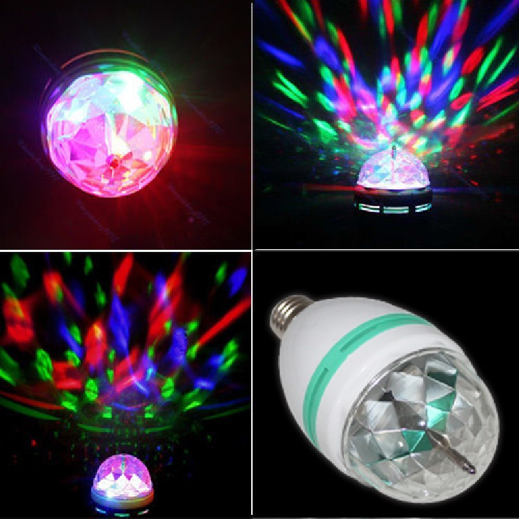 3W <font><b>3</b></font> color Mini <font><b>RGB</b></font> E27 <font><b>Crystal</b></font> <font><b>Rotating</b></font> magic <font><b>ball</b></font> <font><b>stage</b></font> light <font><b>LED</b></font> Lamp bulb for party Disco DJ Lighting