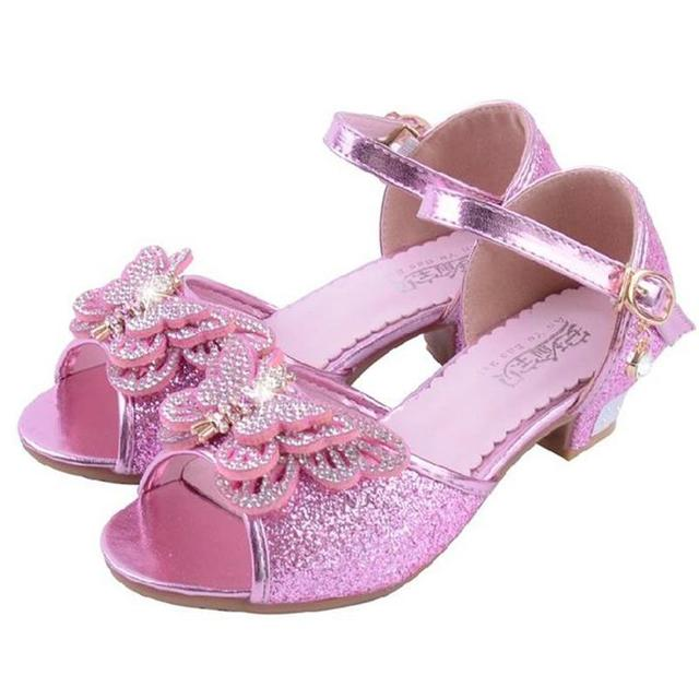 bc0740d94 HaoChengJiaDe Girls Fancy Sandals Blue Pink Silver Bling Bling Kids Party  Shoes Wedding Fashion Elegant Dress Shoes For 4-12Year