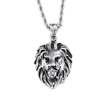 Mens Stainless Steel Pendant Chain Lion Head Necklaces Fashion Trendy Paired Suspension Pendants Model