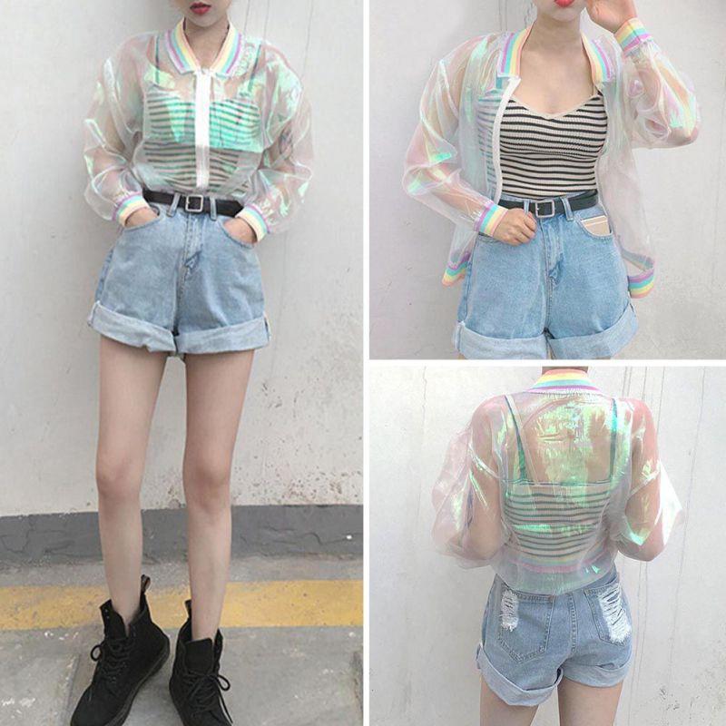 Harajuku Women Summer Jacket Laser Rainbow Symphony Hologram Women Coat Iridescent Transparent Bomber Jacket Sunproof Basic Coat girl