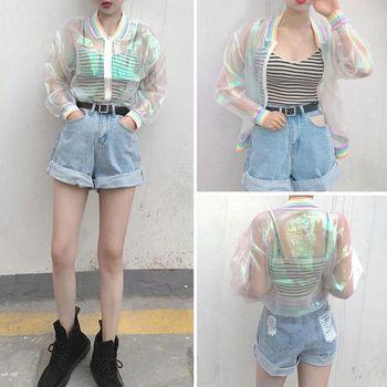 Harajuku Women Summer Jacket Laser Rainbow Symphony Hologram Women Coat Iridescent Transparent Bomber Jacket Sunproof Basic Coat tights