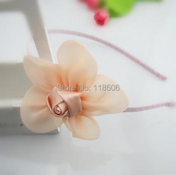Free Shipping  Rose Flowers Headbands Girl Chiffon Flower Headwear Headbands Kids