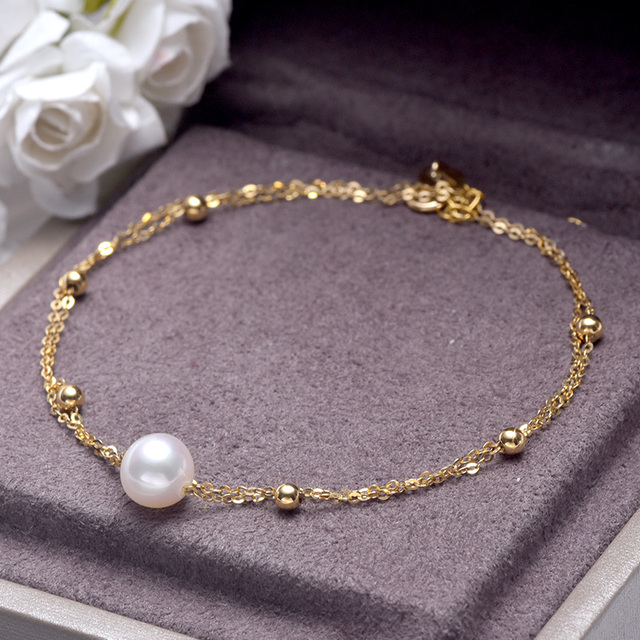 18k Gold Bracelet with White Akoya Pearl 4