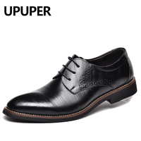 REETENE Spring Autumn New Business Men Dress Shoes Genuine Leather Lace Up Black Oxfords Shoes High