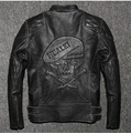 DHL,Free shipping.Brand winter mens skull leather Jackets,faux fur top genuine Leather motor biker jacket.motorcycle slim