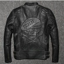 VANLED shipping.Brand winter mens skull leather Jackets faux fur genuine Leather slim