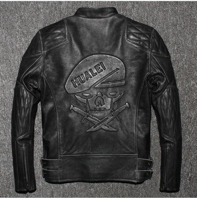 DHL,Free shipping.Brand winter mens skull leather Jackets,faux fur top genuine Leather motor biker jacket.motorcycle slim