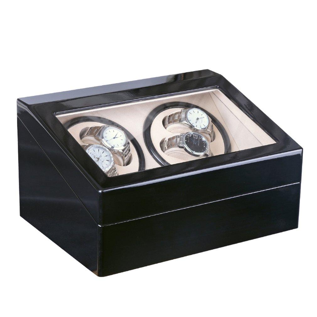 4 + 6 Preto Mecânico Automático Caixa de Relógio de luxo de Alta Classe Motor Shaker Dobadoura do Relógio de Exibição Titular Jóias EUA/ EU/AU/UK Plug