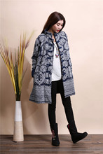2015 Winter chinese style retro frog women windbreaker cotton linen flocking cotton-padded jacket dust trench coat