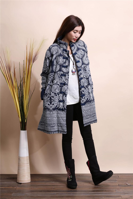 2015 Winter chinese style retro frog women windbreaker cotton linen flocking cotton padded jacket dust trench