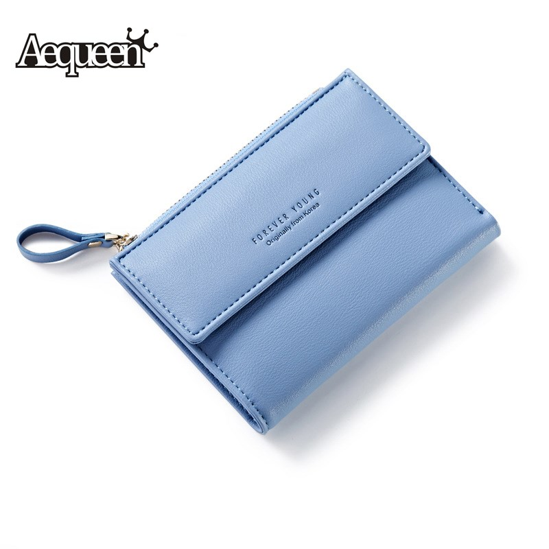 AEQUEEN Bifold Wallets Women Short Wallet PU Leather Coin Purse Card Holder Lady Purses Clutch Small Pouch Fashion Korean Style fashion women coin purses dots design mini girl wallet triple zipper clutch bag card case small lady bags phone pouch purse new