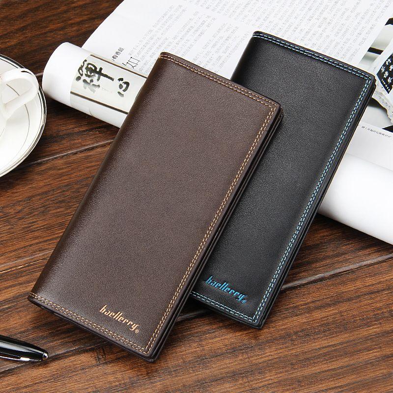 88472bb710ca Fashion Boyfriend Gift Wallet Black Brown Men s Long Leather Wallet Men  Business ID Card Holder Purse Clutch Bifold Soft Bag