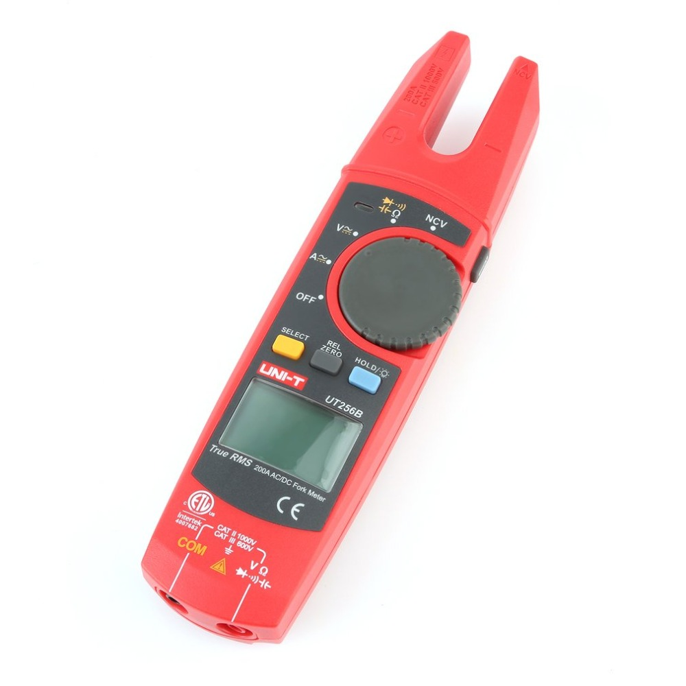 UT256B Auto Range 200A AC/DC Current True RMS Digital Fork Type Clamp Meter with ohm Capacitance NCV Test Multimeter uni t ut256b true rms digital clamp meter multimeter fork meter ac dc volotage current resistance capacitance ncv test backlight