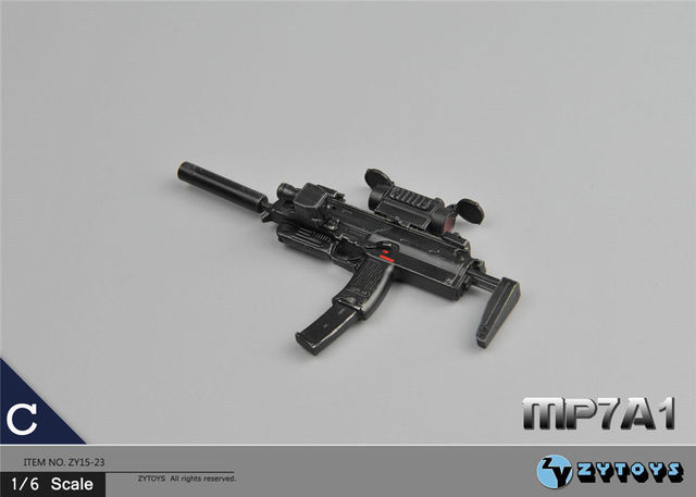 "ZY Toys 1/6 Weapons MP7A1 C Machine Gun Model Toys For 12"" Action Figure Body Kids Toys Collections"