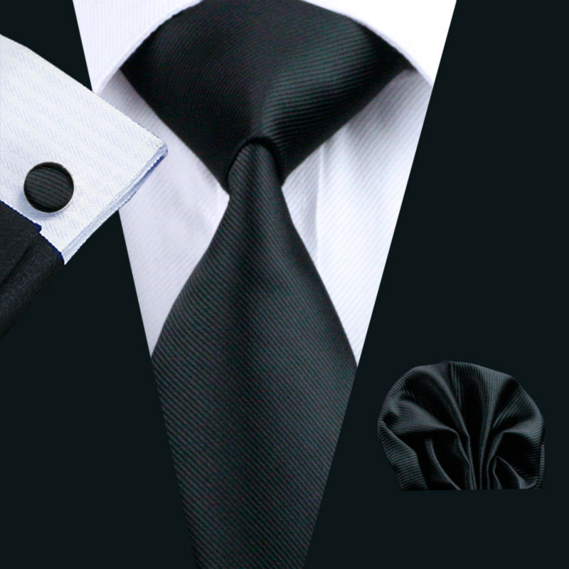 LS-840 Mens Tie Black Solid 100% Silk Classic Barry.Wang Tie+Hanky+Cufflinks Set For Men Formal Wedding Party Free Shipping