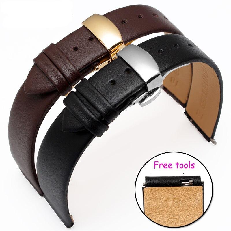 Hohe Qualität 18 * 15mm 18 * 16mm Echtes Leder Uhrenarmband Schwarzes Leder Smart Watch Zubehör Für Huawei B2 B3