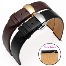 Hight Quality 18 15mm 18 16mm Genuine Leather Watch band Black Leather Smart Watch accessories For
