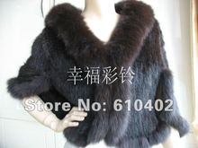 free shipping  / real fox collar  real mink  with  sleeves  cape /vest/brown