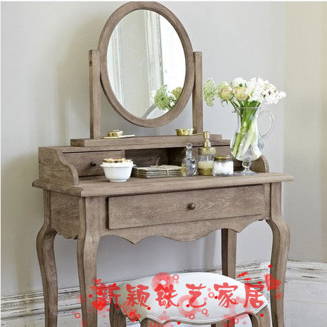 American Country Wood Dresser Dressing Table Mirror Vanity