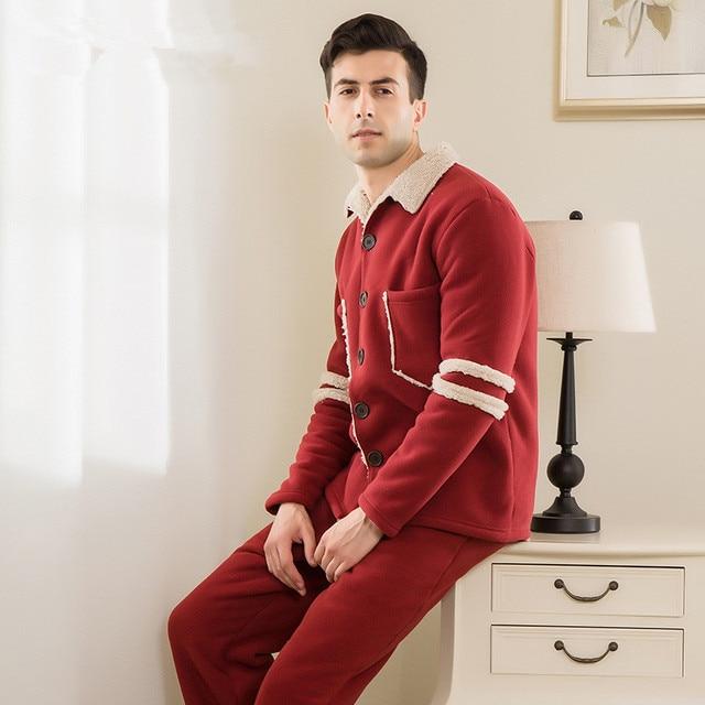 Men lapel Cardigan Large size  Sheep velvet Thick warm Pajamas suit