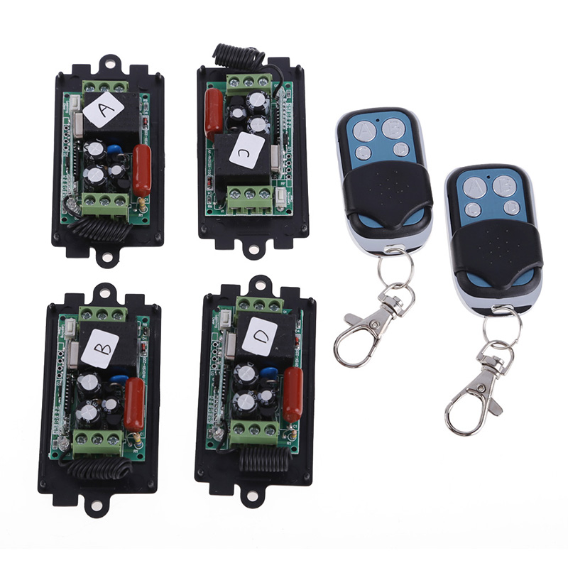New Arrival Professional 4 x AC 220V RF Wireless Switch Relay Receiver 2 x 1CH Remote Controllers Remote Switch HR