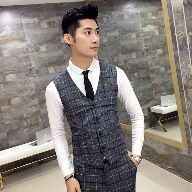 Men 's vest Plaid pattern fashion gentlemen Slim vest Business casual dress high quality youth clothing Autumn 2017 MJ58