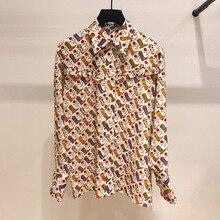 Женская рубашка осень-зима, новая модная Свободная рубашка с длинным рукавом и принтом
