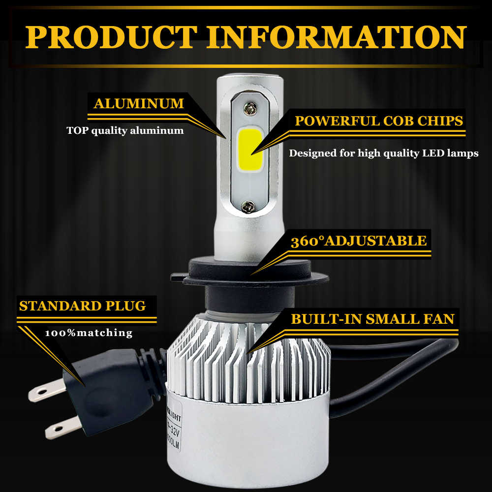 H11 Led H1 H7 H4 H3 H8 H27 HB3 HB4 9005 9006 881 LED Headlight Bulb 72W 8000LM 6500k Auto Car Lamp Fog Light Bulbs 12V 24V
