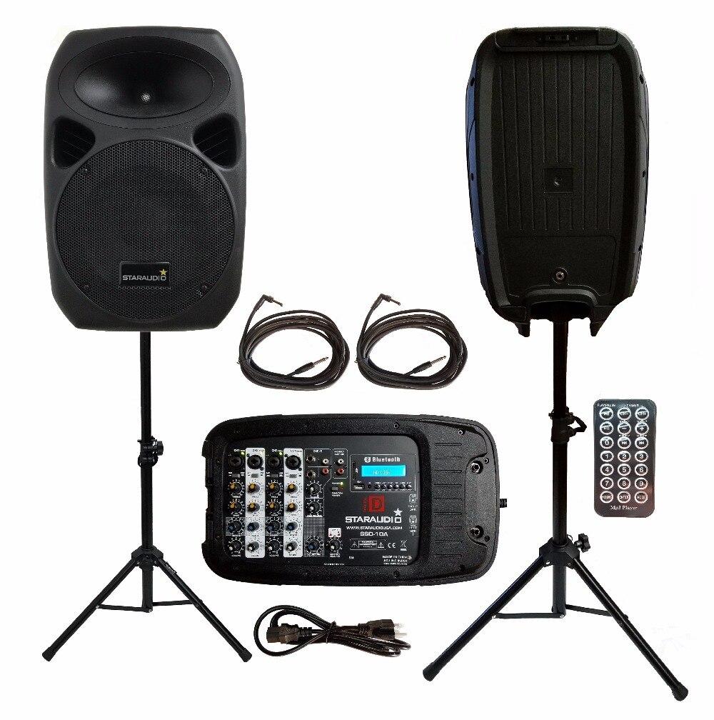 2 STARAUDIO Pro PA DJ KTV Stade 10 pouces 1500 W Portable Bluetooth USB SD Haut-parleurs Avec 2 Stands 1 Alimenté Mélangeur 2 Câbles SSD-10A