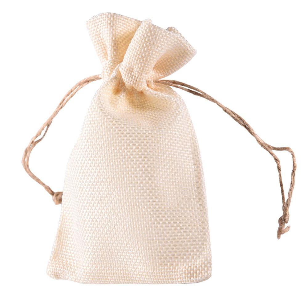 12Pcs/Lot Trendy White Natural Linen Drawstring Wedding Favor Bags ...