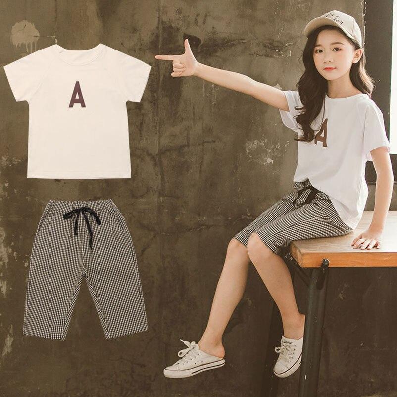 menina manga curta camiseta + shorts 2