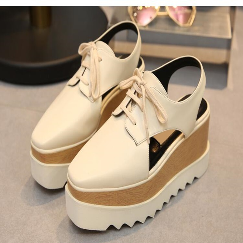 Slingback spring autumn wedges shoes square toe platform ankle strap casual shoes woman lace-up European style pumps 2018 2015 brand new high heel wedges shoes platform pumps for women lace up square toe casual shoes sexy casual shoes woman