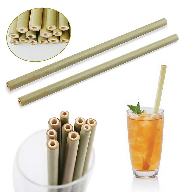 Behogar 5 uds 20cm pajillas reutilizables de bambú biodegradables respetuosas con el medio ambiente con cepillo de limpieza bolsa de tela para café Bar uso doméstico