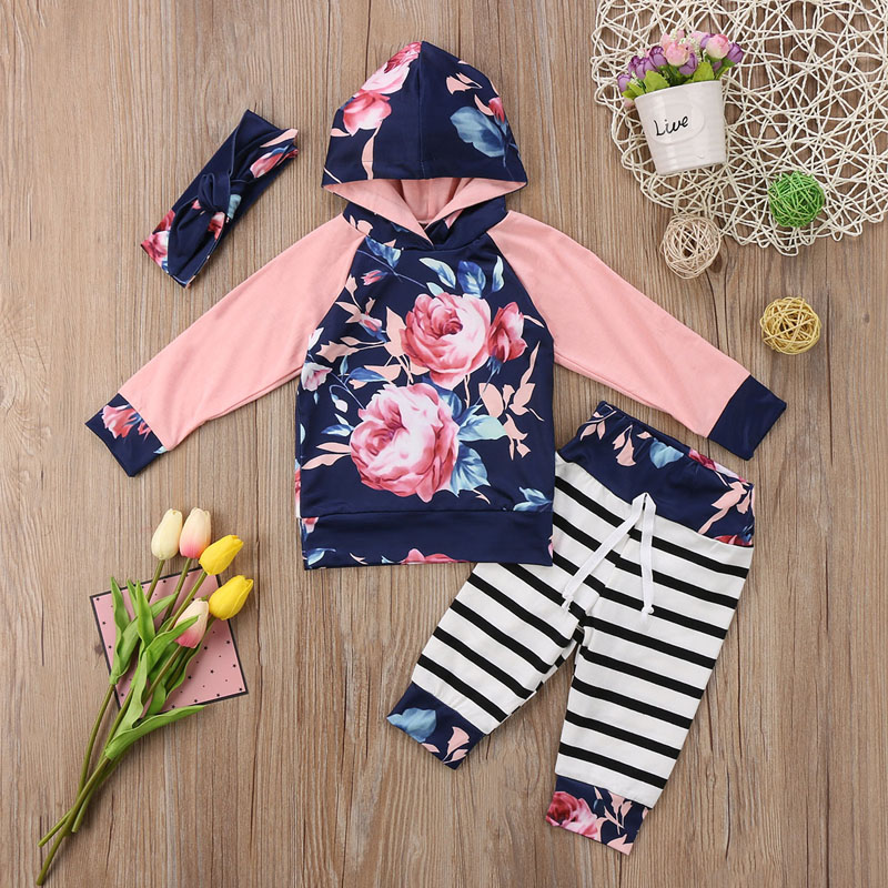 New Casual Newborn Infant Baby Girls Clothes Long Sleeve Flower Hooded Top T shirt Sweatshirt Long Pants Outfits Set Clothes