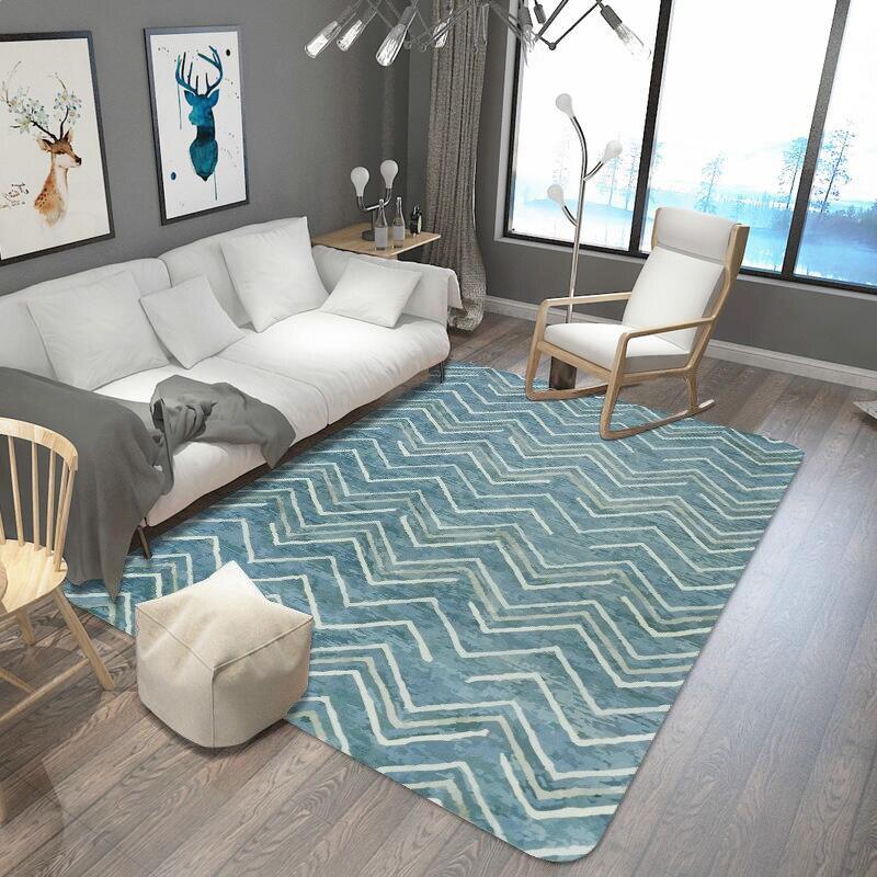 Tapis de rayures vertes et blanches pour le salon Rectangle géométrique grand tapis de sécurité tapis anti-dérapant pour tapis de décoration intérieure